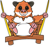 Hamster sitting on swing Royalty Free Stock Photography