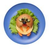 Hamster triste do sanduíche criado na placa azul Fotos de Stock Royalty Free
