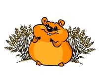 Hamster wheat field cartoon illustration Royalty Free Stock Image