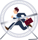 Hamster wheel. Stressed businessman running in a hamster wheel Royalty Free Stock Images