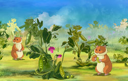 Hamsters on Pea Field. Two Hamsters on Pea Field. Digital painting  cartoon style full color illustration Stock Image