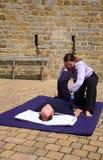 Hamstring massage Stock Photos