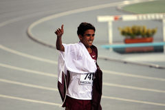 Hamza Driouch from Qatar celebrates winning Stock Images