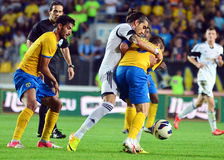 Hamza Younes, Chico Flores and Damien Boudjemaa in Petrolul Ploiesti-Swansea FC Stock Photography