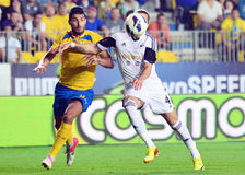 Hamza Younes and Chico Flores in Petrolul Ploiesti-Swansea FC Stock Photography