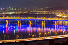 Han Gang in Seoul city at night Stock Photos