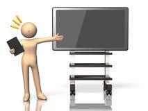 Han gjorde en presentation genom att använda den elektroniska blackboarden. Arkivbild