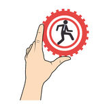 Han holding a gear wheels with pictogram man executive inside Stock Image