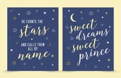 Han räknar stjärnorna och kallar dem till namn; söt prins för söta drömmar! royaltyfri illustrationer