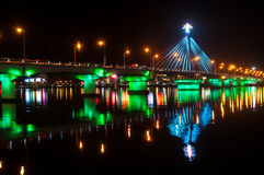 Han River Bridge. Illumination on Han River Bridge in Danang. The bridge crosses the Han River but in the middle of the night it swings on its axis to allow stock images