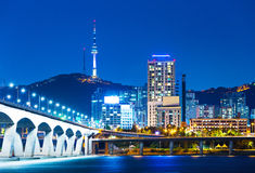 Han River and Bridge in Seoul Stock Photography