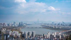 Han River Scenic Area in Seoel, de hoofdstad van Zuid-Korea stock video