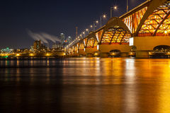 Han river with Seongsan bridge at night. In Seoul, Korea Royalty Free Stock Photo