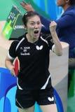 Han Yan at the Olympic Games in Rio 2016. Han Yan playing table tennis  at the Olympic Games in Rio 2016 Stock Image