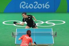 Han Yan at the Olympic Games in Rio 2016. Han Yan playing table tennis  at the Olympic Games in Rio 2016 Royalty Free Stock Images