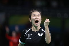Han Yan at the Olympic Games in Rio 2016. Han Yan playing table tennis  at the Olympic Games in Rio 2016 Royalty Free Stock Photography