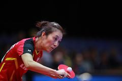 HAN Ying from Germany backhand. 2017 European Championships - Final Germany-Romania. Luxembourg Royalty Free Stock Photos