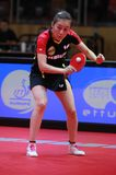 HAN Ying from Germany backhand. 2017 European Championships - Final Germany-Romania. Luxembourg Stock Image