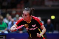 HAN Ying from Germany backhand. 2017 European Championships - Final Germany-Romania. Luxembourg Royalty Free Stock Photo