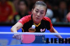 HAN Ying from Germany backhand. 2017 European Championships - Final Germany-Romania. Luxembourg Royalty Free Stock Image