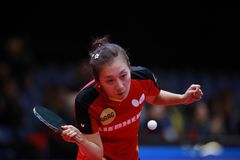 HAN Ying from Germany forehand. 2017 European Championships - Final Germany-Romania. Luxembourg Royalty Free Stock Photography
