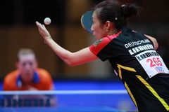 HAN Ying from Germany on serve. 2017 European Championships - 1/4 Final. Luxembourg Stock Image