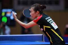 HAN Ying from Germany on serve. 2017 European Championships - 1/4 Final. Luxembourg Royalty Free Stock Image