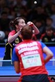 HAN Ying from Germany on serve. 2017 European Championships -  Women Final - Germany-Romania. Luxembourg Stock Photos