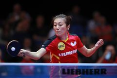 HAN Ying from Germany top spin. 2017 European Championships - Final Germany-Romania. Luxembourg Royalty Free Stock Photo