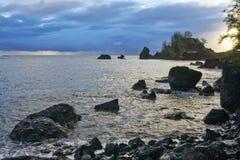 Hana Harbor Sunrise. Hana Harbor during a stormy Sunrise, Maui, Hawaii stock images