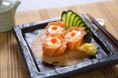 Hana Maki (Salmon slices with mayo) Stock Photo