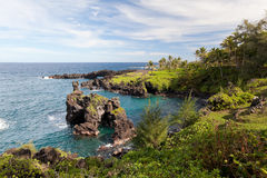 Hana maui coast. Beautiful coastline in gorgeous remote hana, maui, hawaii Royalty Free Stock Photography