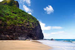 Hanakapiai beach as one of checkpoints of Kalalau trail of Napali coast, Kauai. Hawaii Stock Photo