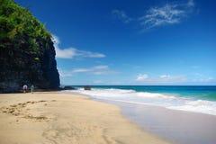 Hanakapiai beach of Kalalau trail Stock Photos
