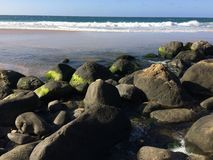 Hanakapiai Beach on Na Pali Coast on Kauai Island, Hawaii - Kalalau Trail. Royalty Free Stock Image