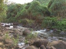 Hanakapiai Stream on Napali Coast on Kauai Island, Hawaii. Royalty Free Stock Images