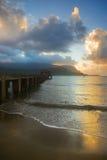 hanalei海岛考艾岛日落 免版税图库摄影