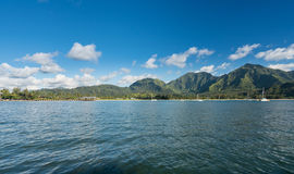 Hanalei海湾和码头下午视图在考艾岛夏威夷 免版税图库摄影