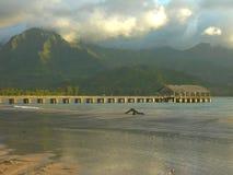 hanalei考艾岛码头 免版税库存照片