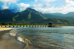 Hanalei Bay, Kauai. Beautiful day to Kauai, Hawaii Royalty Free Stock Photography