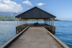 Hanalei Bay Pier royalty free stock images