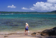 Hanalei Bay shoreline Stock Photo