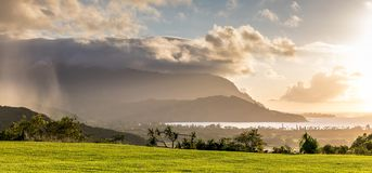 Hanalei Bay at sunset on a rainy day stock photography