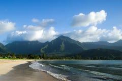 Hanalei beach, Kauai, Hawaii. Beautiful day to Kauai, Hawaii Stock Photos
