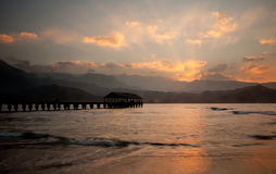 Hanalei Pier at sunset Stock Image