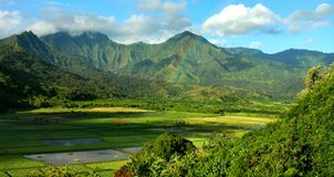Hanalei Valley Rainbow, Kauai Stock Photos