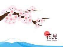 Hanami 2018 - einfacher Cherry Blossom und Berg Lizenzfreie Stockfotos