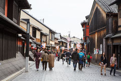 Hanami KOJI街在京都,日本 免版税库存图片
