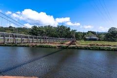 Hanapepe Slingerende Brug in Kauai, Hawaï royalty-vrije stock fotografie