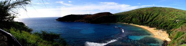 Hanauma Bay. Panoramic view of Hanauma Bay in Oahu, Hawaii Stock Images